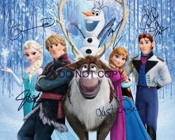 FROZEN Disney movie RP cast signed 11x14 poster  photo Menzel Bell Gad etc