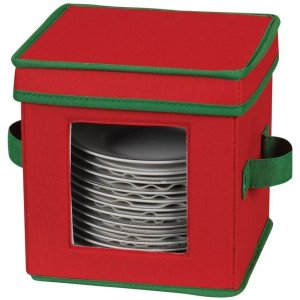 Household Essentials Holiday Dinnerware Storage Chest for Saucers, Red with Green Trim