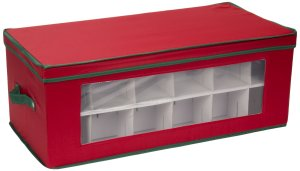 Household Essentials Holiday Ornament Storage Chest for 36-Piece, Red with Green Trim