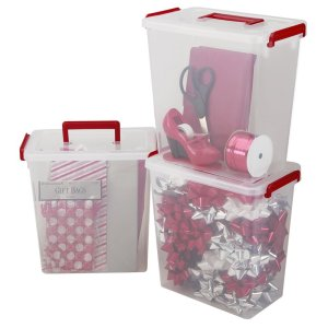 IRIS 3-Piece Holiday Ribbon and Bow Storage Set, Small