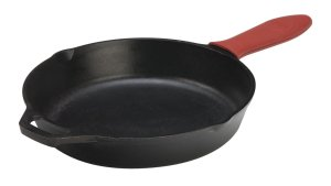 Lodge L10SK3ASHH41B Pre-Seasoned Cast-Iron Skillet with Red Silicone Hot Handle Holder, 12-inch
