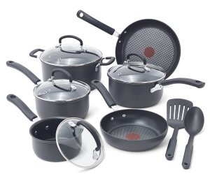 T-fal E918SC Ultimate Hard Anodized Nonstick Expert Interior Thermo-Spot Heat Indicator Cookware Set, 12-Piece