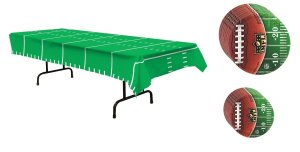 Football Themed Plastic Tablecloth w BONUS NFL Licensed Dinner & Dessert Plates