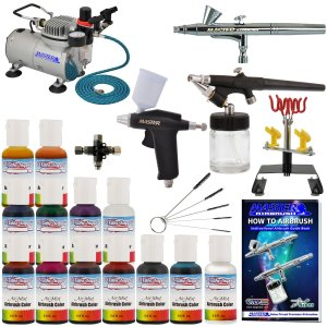 Master Pro Airbrush Cake Decorating Set with 12 AmeriMist Airbrush Cake color set that are FDA approved