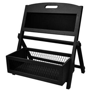 Distressed Wood Multifunctional Basket - Planter Shelf With Chalkboard (Black)
