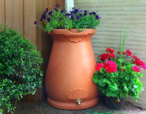 Good Ideas RWURN Rain Wizard Rain Barrel Urn 65-Gallon, Terra Cotta