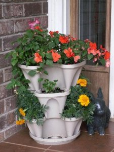 Nancy Janes P1360 12-inch Stacking Planters with Patented Flow through Watering System and Hanging Chain, Stone