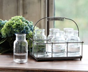 Antique Style Wire Caddy with Milk Bottles