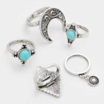 Shining Bee Trendy 5 pce Turquoise & Tribal Metal Rings