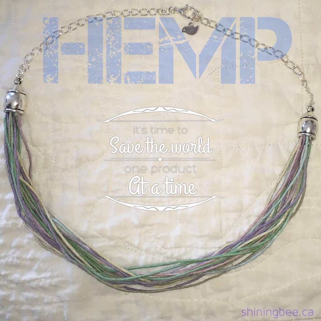 Shining Bee original Hemp and Silver Filled Chain Necklace adj. 18-20""